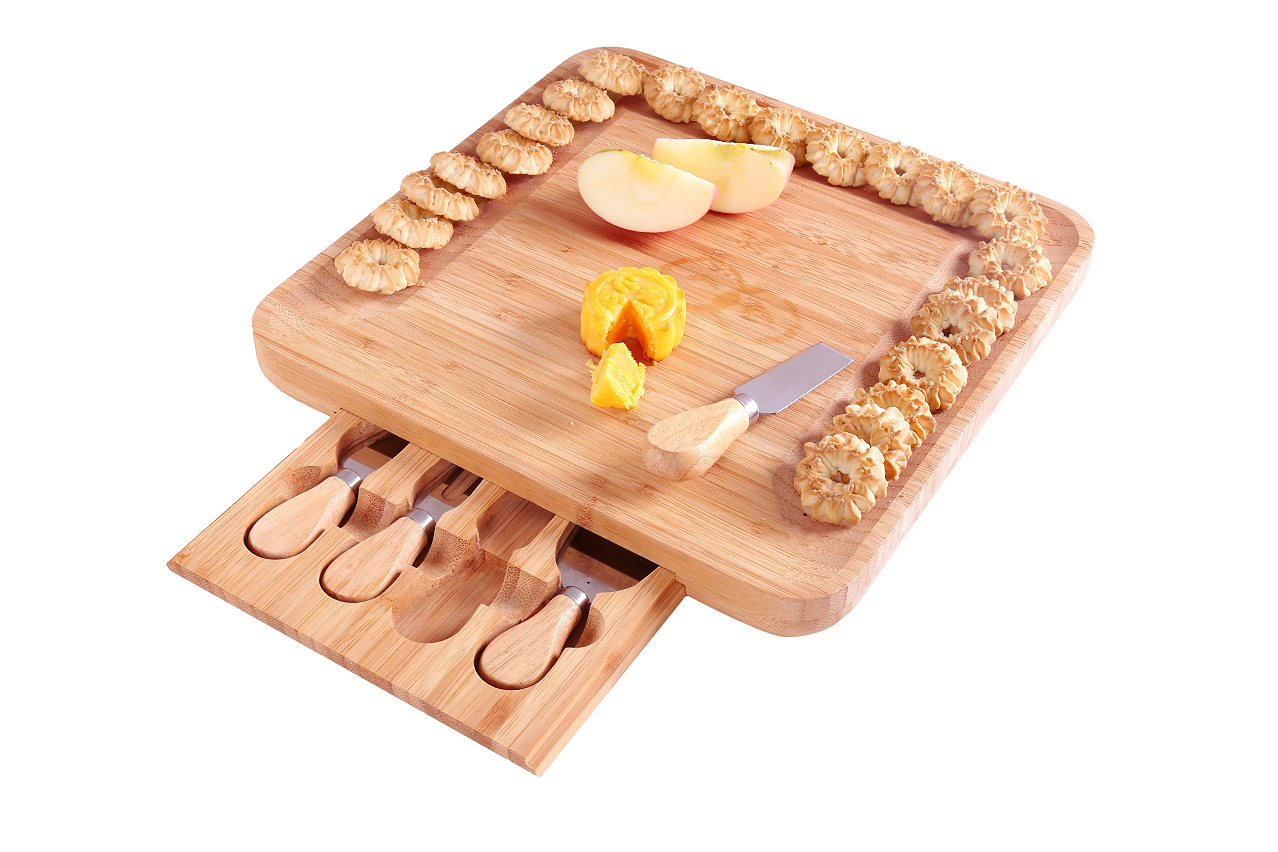 ISINO Bamboo Cheese Set with Hidden Slide-out Drawer and 4 Piece Cutlery Set , Square Wooden Platter and Serving Tray with Non Slip Feet for Wine , Crackers , Brie and Meat , Size 13''x13''