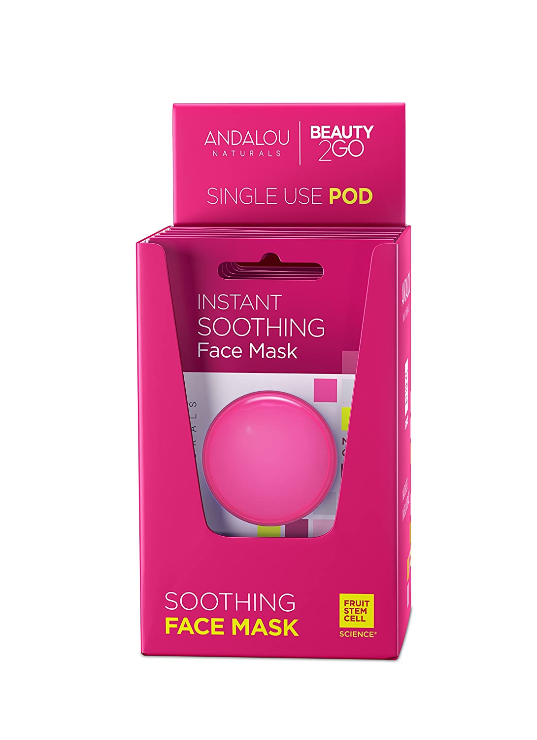 Andalou Naturals Instant Soothing 1000 Roses Rosewater Face Mask Pod, Single Face Mask, 0.28 Ounce (Pack of 6)
