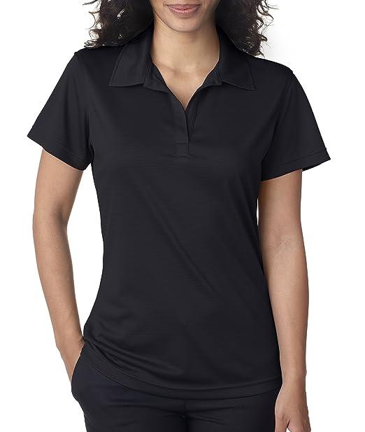 396132e0 UltraClub 8220L Ladies' Cool & Dry Jacquard Stripe Polo Shirt Black Small