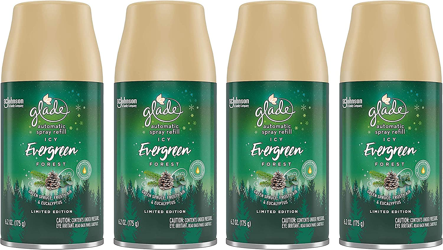 Glade Automatic Spray Refill - Limited Edition Holiday Collection - ICY Evergreen Forest - Net Wt. 6.2 OZ (175 g) Per Refill Can - Pack of 4 Refill Cans