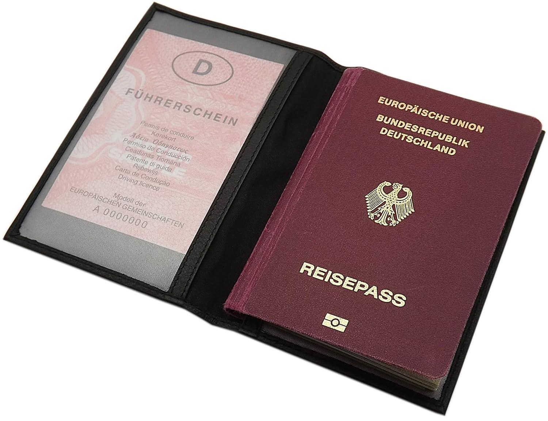 Leder Reisepass Schutzhülle MJ-Design-Germany in Schwarz