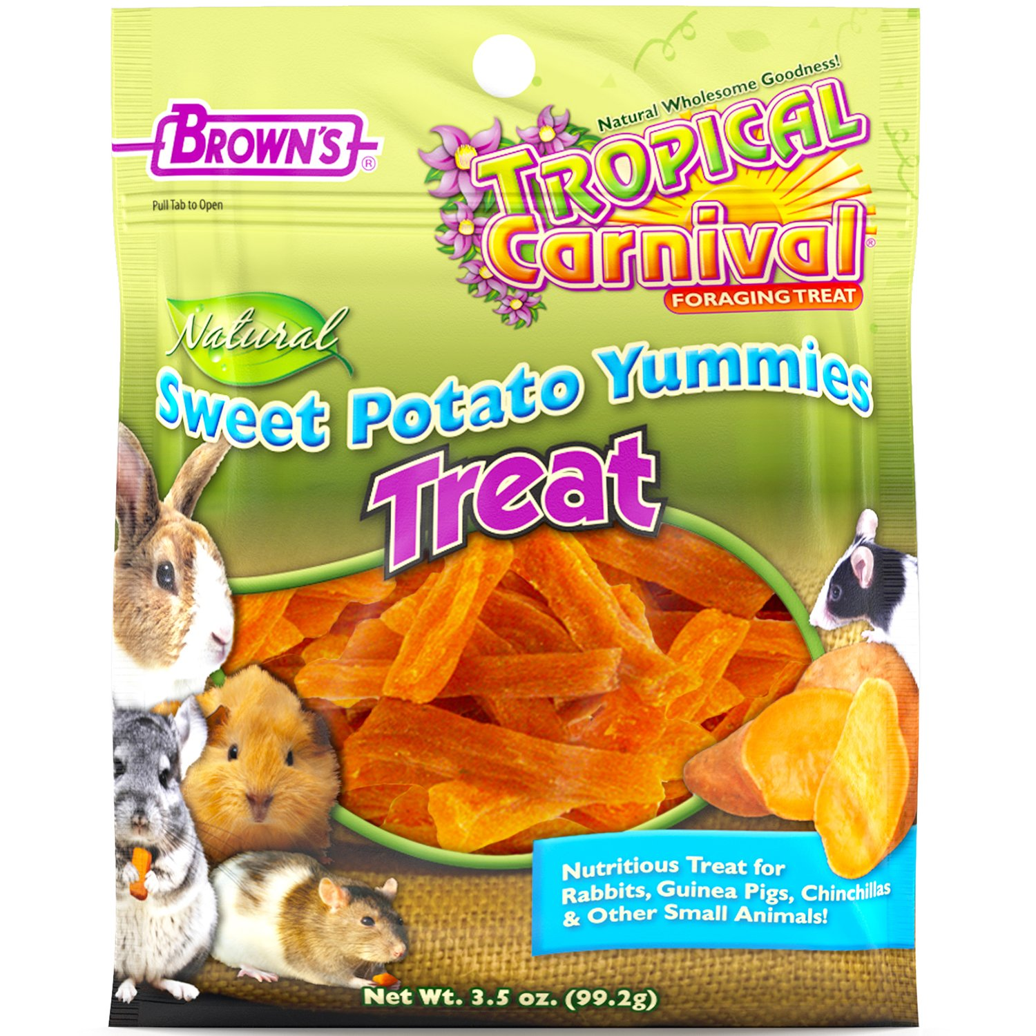 F.M. Brown's Tropical Carnival Natural Sweet Potato Yummies with Vitamin C, 3.5-oz Bag - Nutritious Treat for Rabbits, Guinea Pigs, Chinchillas and Other Small Animals