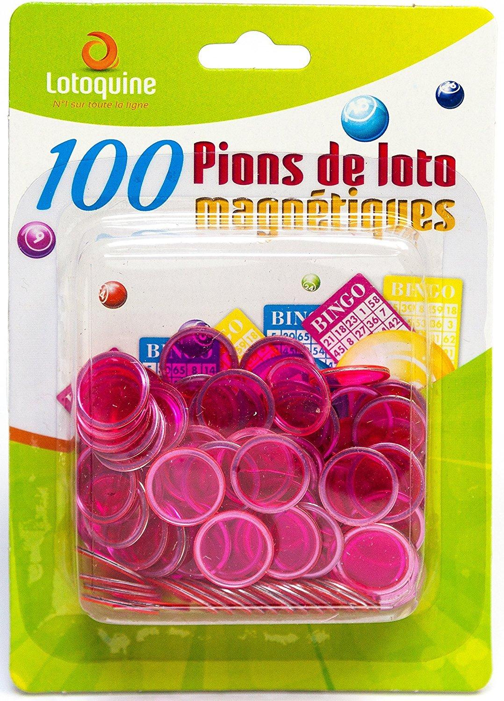 100 PIONS LOTO MAGNETIQUES FUCHSIA pour bâton magnétique LOTOQUINE