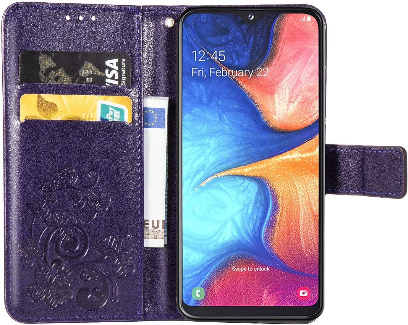 Premium PU Leather Folio Flip Cover Vogue Business with Kickstand and Credit Slots Wallet Phone Case for Samsung Galaxy A10S Retro Blue HX ISADENSER Galaxy A10S Wallet Case Samsung A10S Case