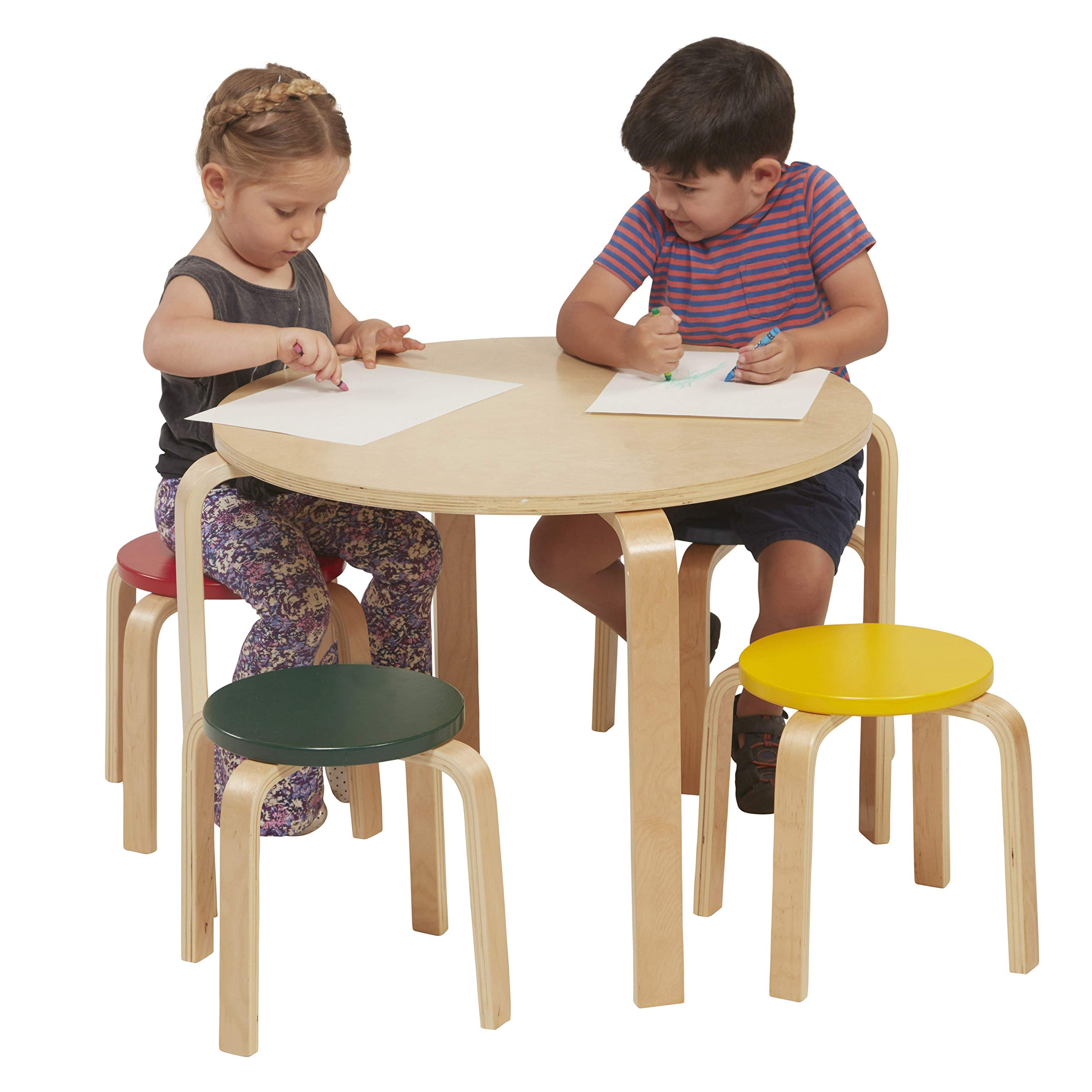 ECR4Kids Bentwood Table and Stool Set for Kids, Assorted by ECR4Kids