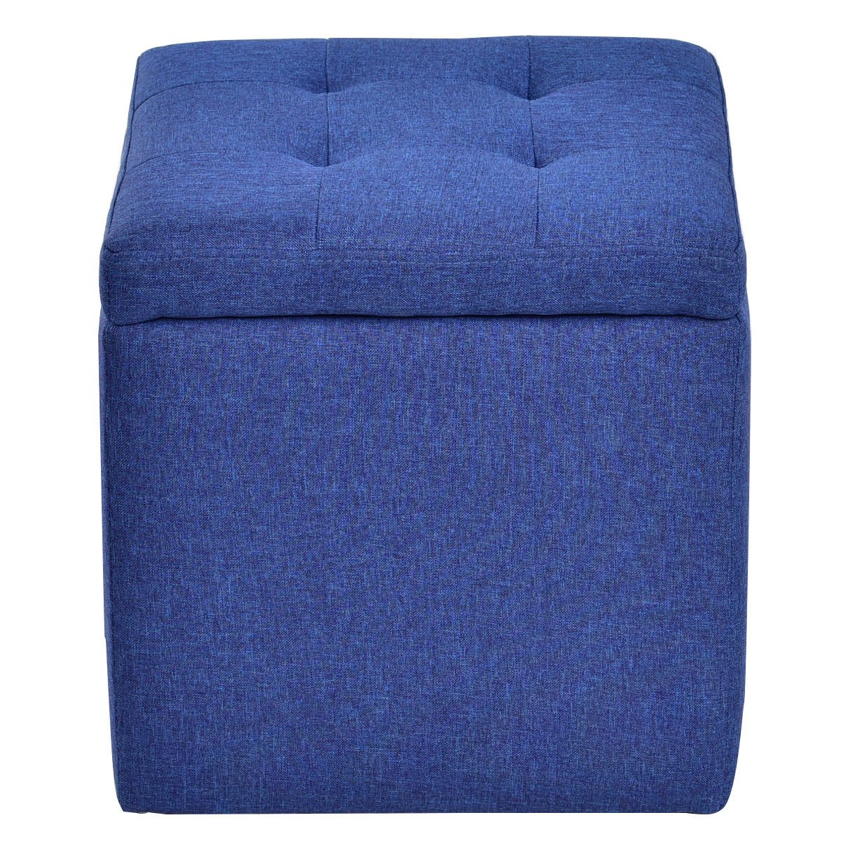 Storage Ottoman Square Seat Foot Stool Living Room Chair Cube Footstools Blue by Ottoman
