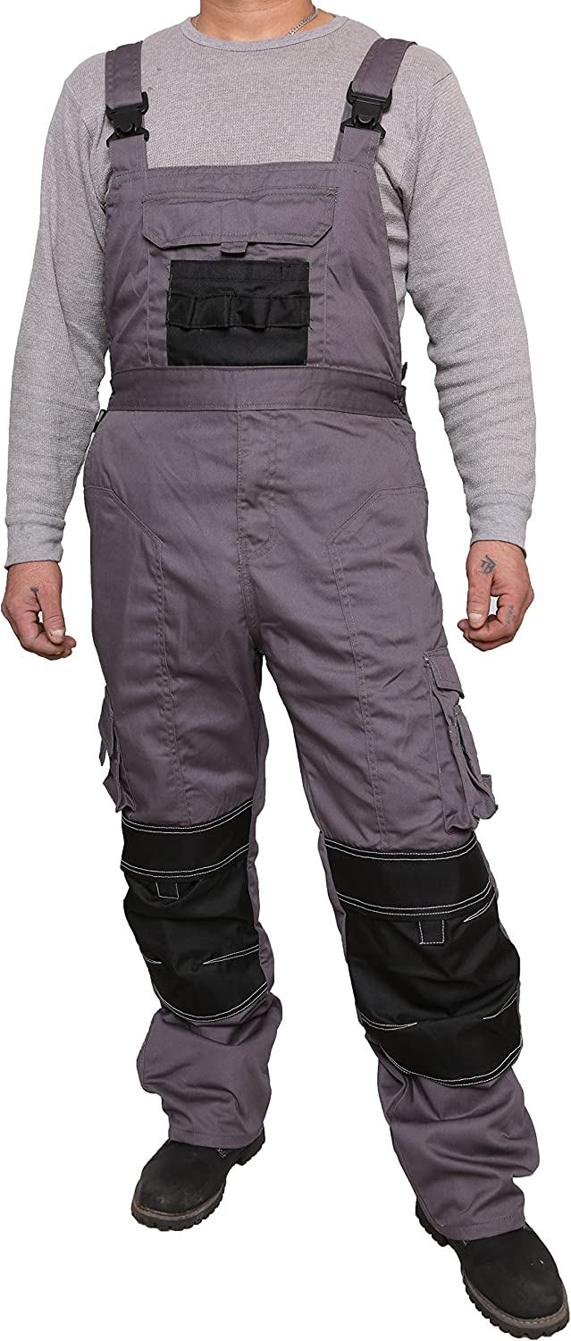 Stenso MAX Mens Work Bib and Brace Dungarees Cotton Overalls with Cargo Pockets