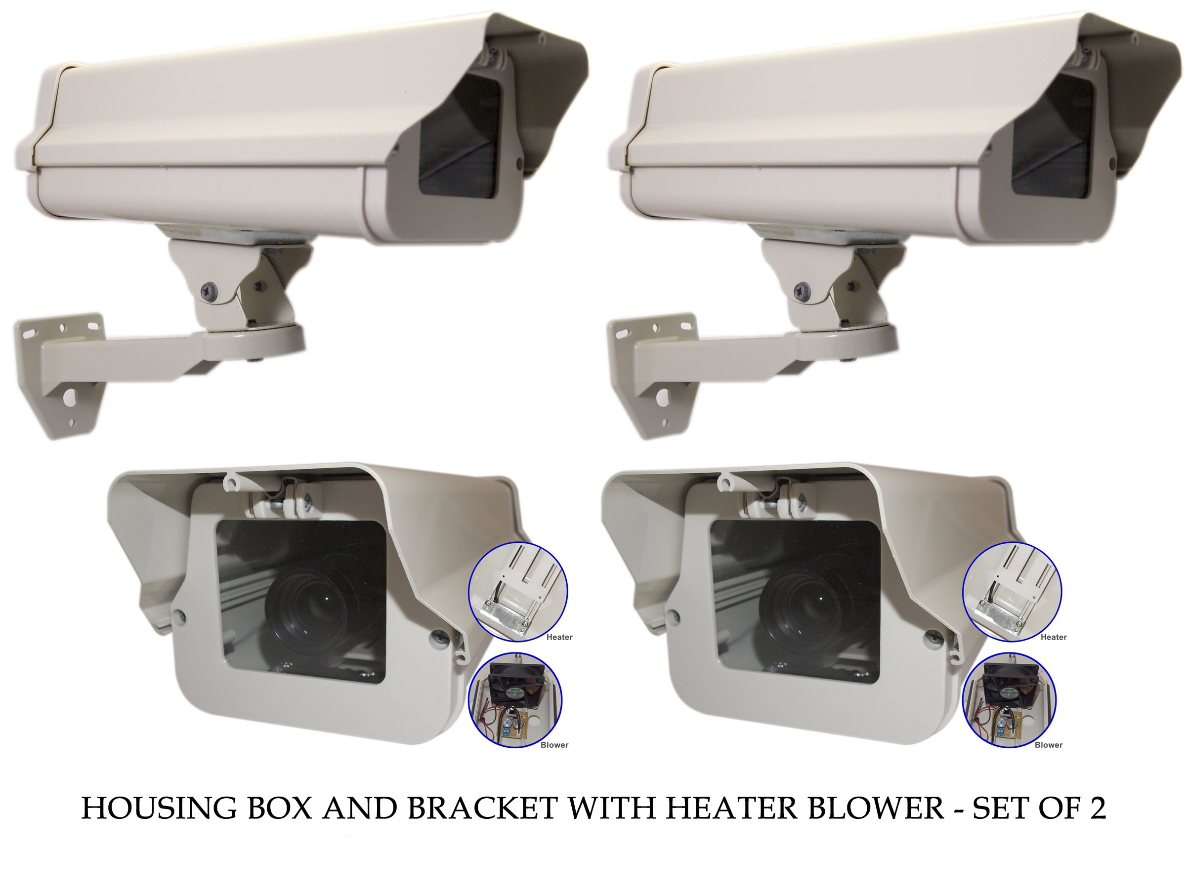 Evertech Housing CCTV Security Surveillance Outdoor Camera box with Bracket and Heater-Blower Weatherproof Heavy Duty Aluminum - Brackets Included (SET OF 2)