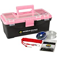 Fishing Single Tray Tackle Box- 55 Piece Tackle Gear Kit Includes Sinkers, Hooks Lures Bobbers Swivels and Fishing Line…