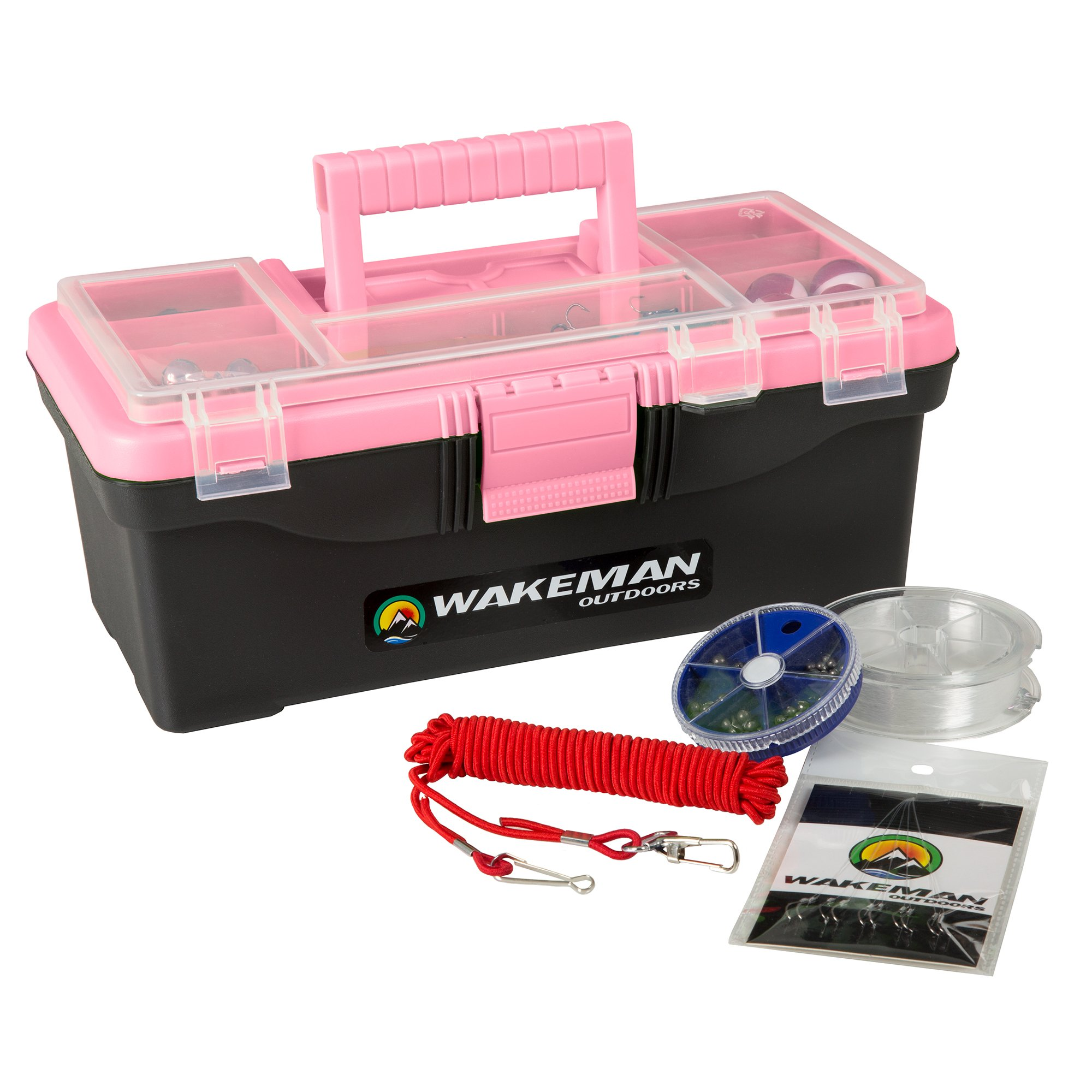 Wakeman Fishing Single Tray Tackle Box- 55 Piece Tackle Gear Kit Includes Sinkers, Hooks Lures Bobbers Swivels and Fishing Line Outdoors (Pink) by Wakeman