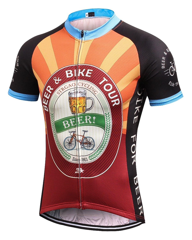 MR Strgao 男性用サイクリングジャージ 自転車半袖シャツ B071CY5483 Large|オレンジ オレンジ Large