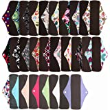 6 Pieces 10 Inch Regular Charcoal Bamboo Mama Cloth/ Menstrual Pads/ Reusable Sanitary Pads - You Choose 6 From 17 Designs and Send the Message to Me