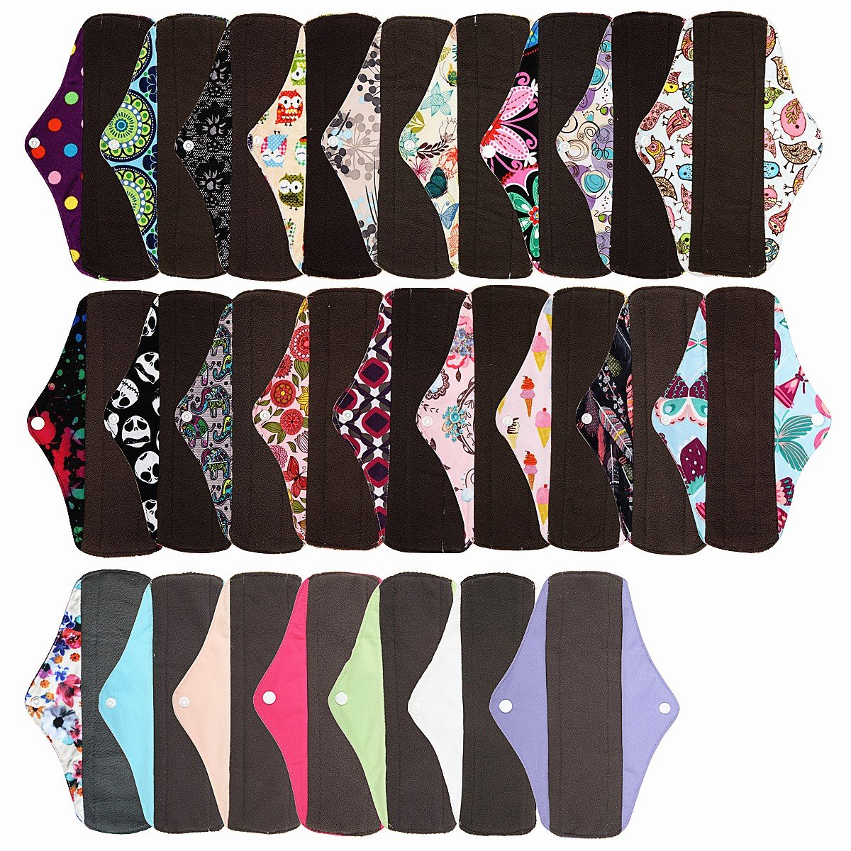 6 Pieces 10 Inch Regular Charcoal Bamboo Mama Cloth/ Menstrual Pads/ Reusable Sanitary Pads - You Choose 6 From 17 Designs and Send the Message to Me Hibaby