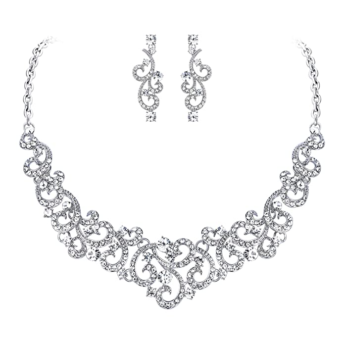 Vintage Style Jewelry, Retro Jewelry EVER FAITH Womens Crystal Art Deco Floral Vine Bridal Necklace Earrings Set Clear Silver-Tone $18.99 AT vintagedancer.com