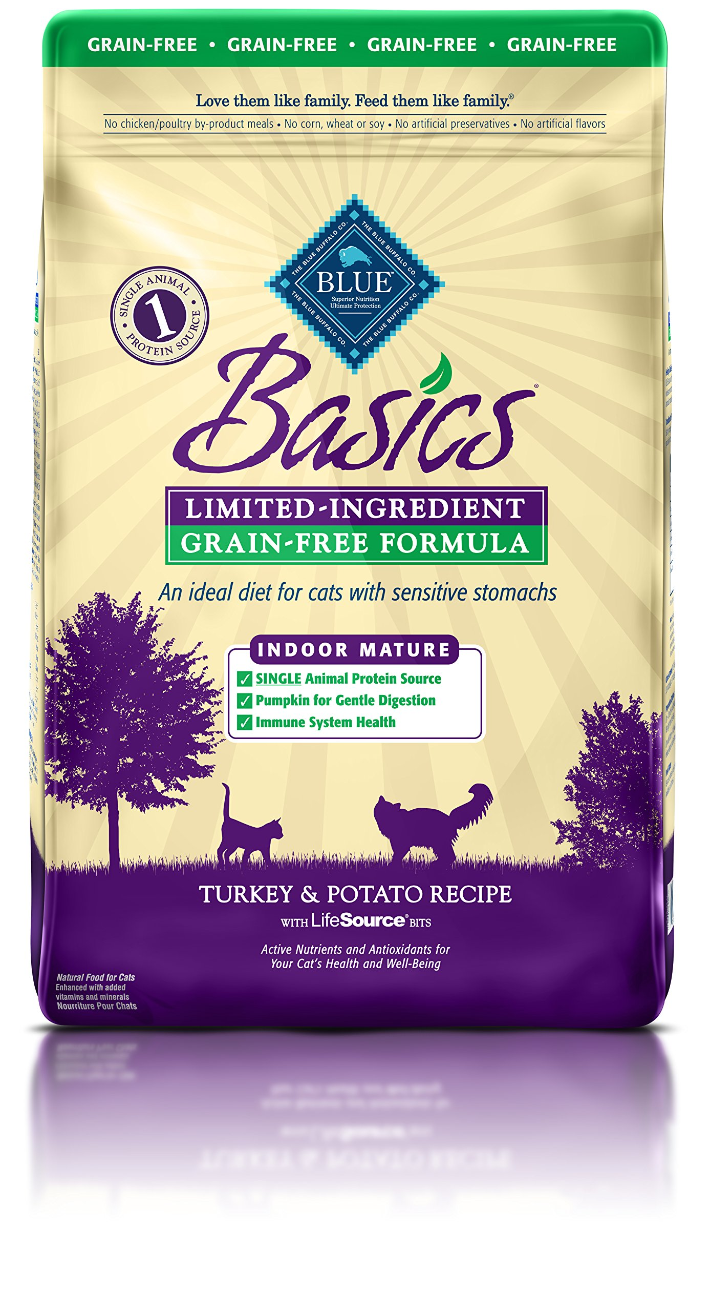 BLUE Basics Limited Ingredient Diet Grain Free, Natural Indoor Mature Dry Cat Food, Turkey & Potato 11-lb