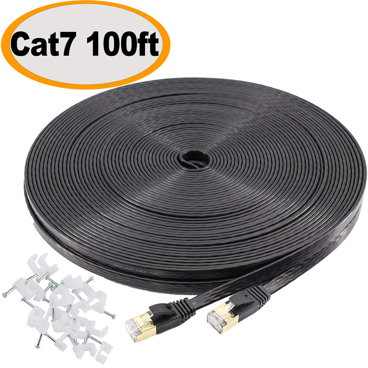 Jadaol Cat 7 Ethernet Cable 100 ft SSTP Shielded Flat, Durable High Speed Internet LAN Computer Patch Cord, Faster Than Cat5e/cat6, Solid Rj45 Cat7 Network Wire for Router, Modem, Xbox, PS, TV- Black by Jadaol