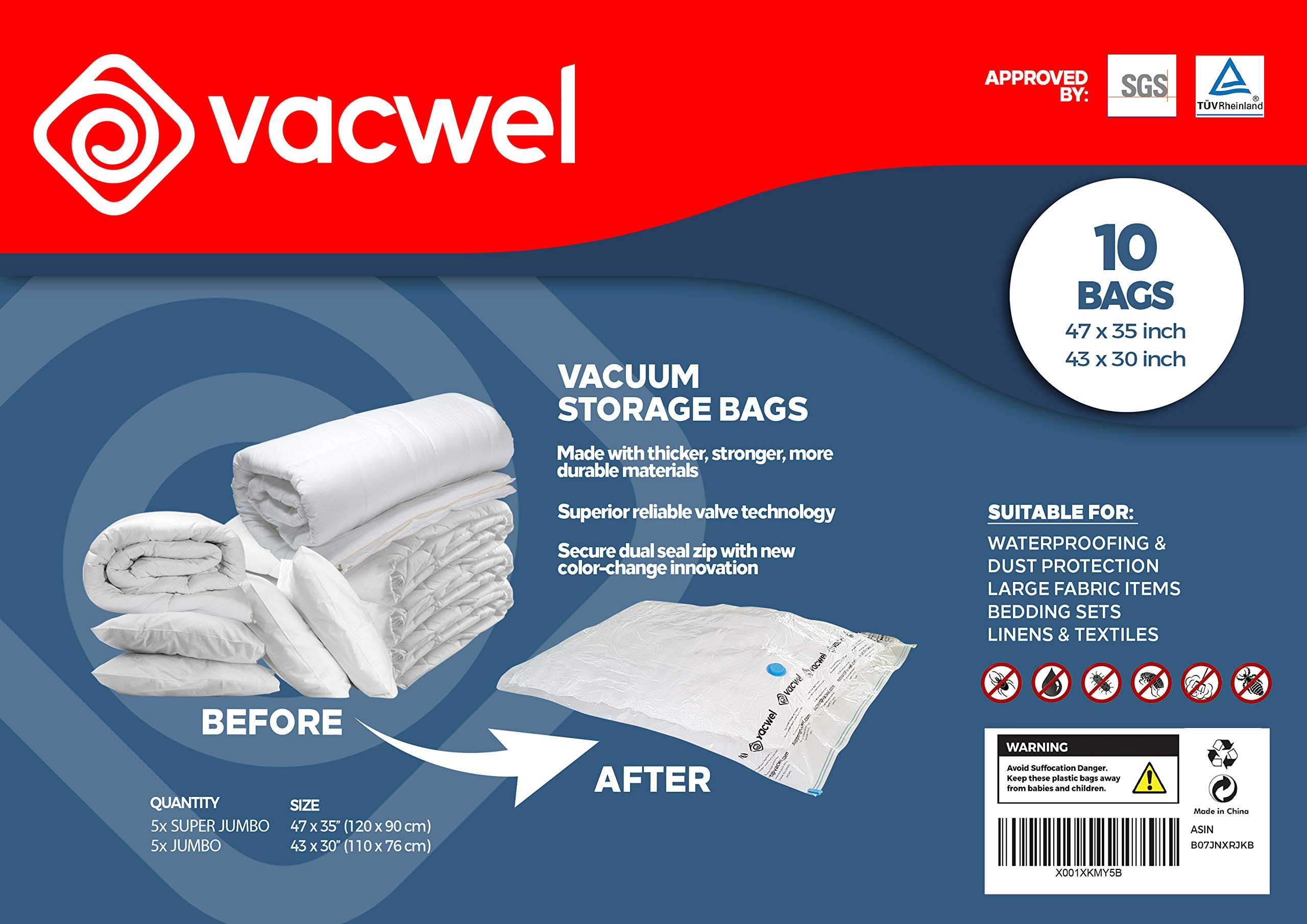 Vacwel Vacuum Space Storage Bags XXL Jumbo Size for Large Vacuum Storage Items, 10 Space Saver Bags- 5X 47 x 35 inch + 5X 43 x 30 inch, Commercial-Grade Quality by Vacwel