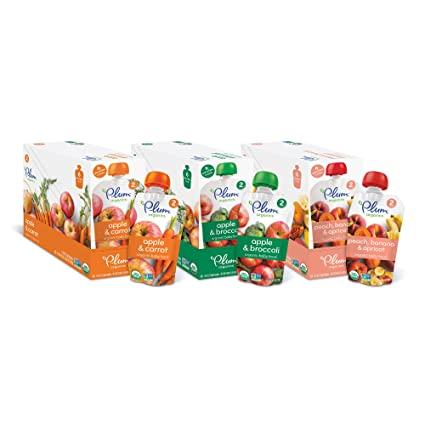 Plum Organics Stage 2, Organic Baby Food, Variety Pack, Apple and Carrot, Apple and Broccoli, Peach, Banana and Apricot, 4 Ounce Pouch (Pack of 18)