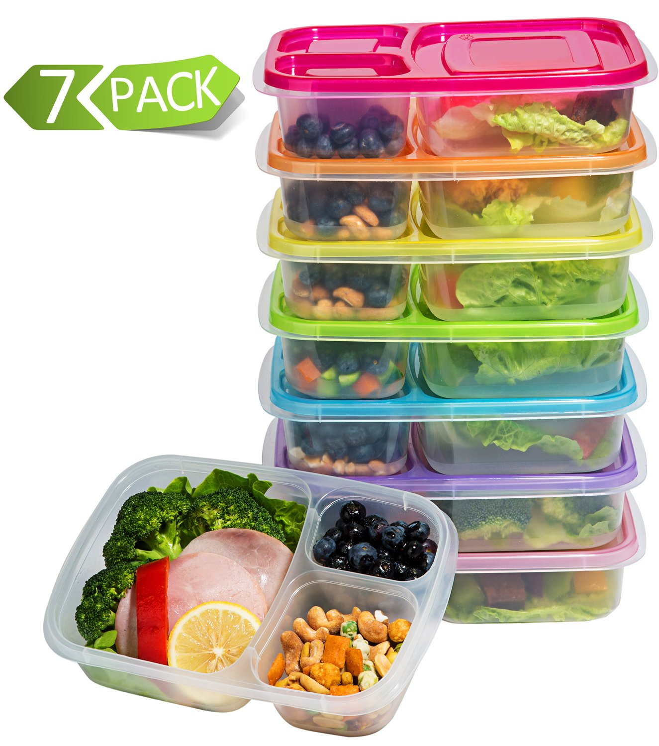 Meal Prep Containers 3-Compartment Lunch Boxes Food Storage Containers with LidsBPA Free Plastic Bento Box Set of 7Portion Control Divided CoverReusable ...  sc 1 st  Amazon.com : sectional lunch boxes - Sectionals, Sofas & Couches