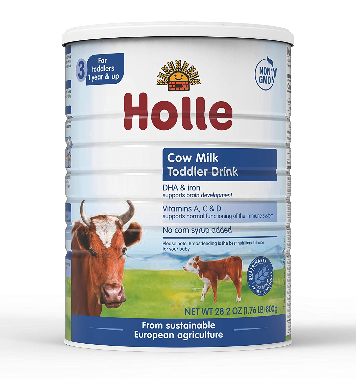 Holle Non-GMO, European Cow Milk Toddler Drink with DHA for Healthy Brain Development 1 Year & Up