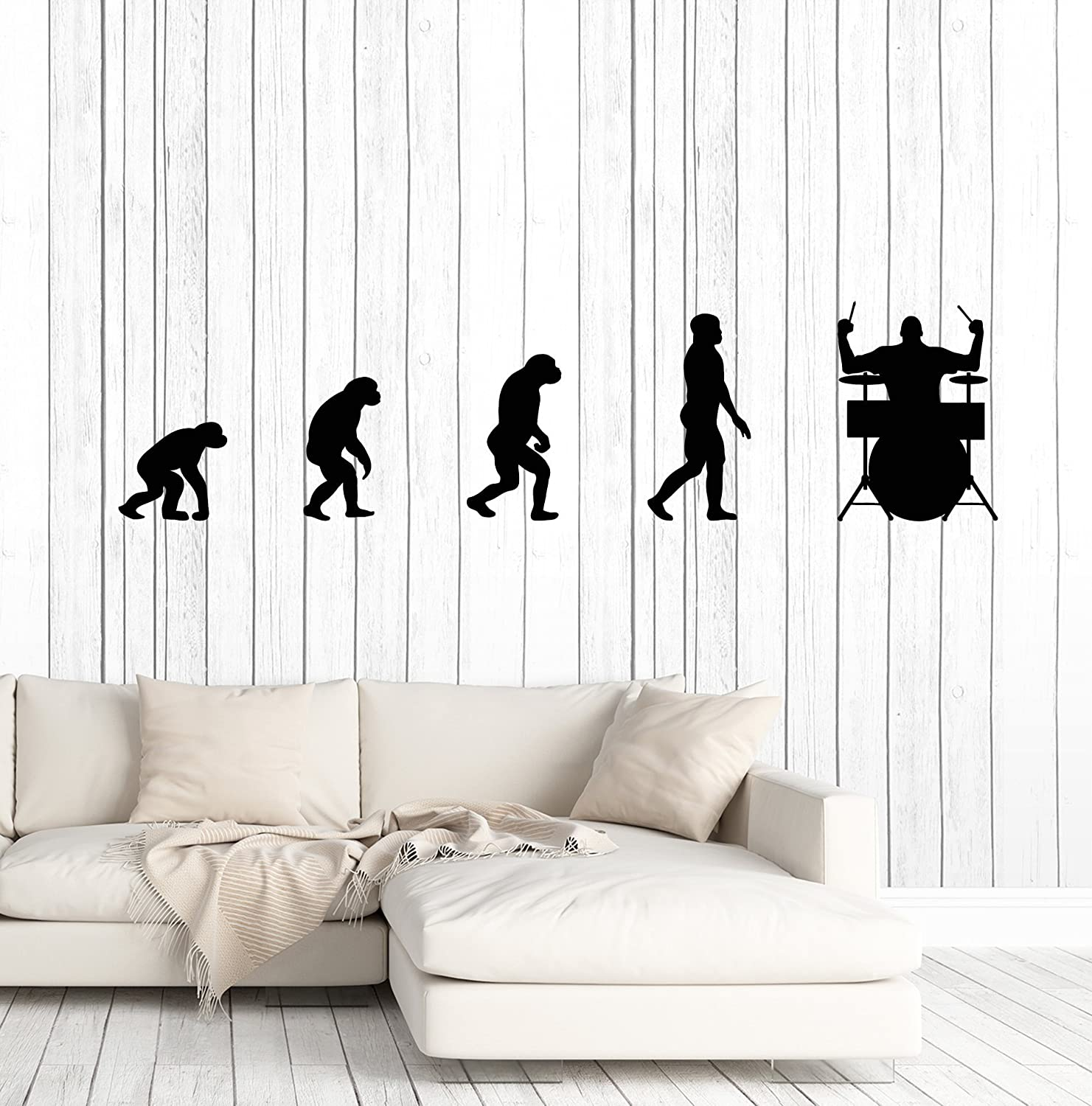 Surprising Amazon Com Vinyl Wall Decal Evolution Of Man Drummer Music Ocoug Best Dining Table And Chair Ideas Images Ocougorg