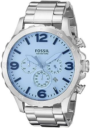 1cec0361d535 Fósil de Hombre jr1509 Nate Cronógrafo Azul Cristal Acero Inoxidable Reloj   Amazon.es  Relojes
