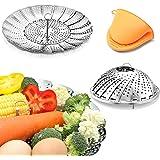 Vegetable Steamer Basket Stainless Steel Premium Folding Veggie Steamer, Steamer for Cooking Lobster, Dumplings, Seafood, Sui