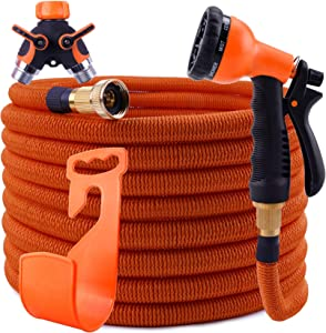 Garden Hose Expandable 50ft, Super Durable 3750D / 4-Layers Strong Latex/Solid Brass Fittings /2-Way Pocket Flexible Splitter, Leakproof & Flexible Expanding Garden Water Hose with 8 Function Nozzle