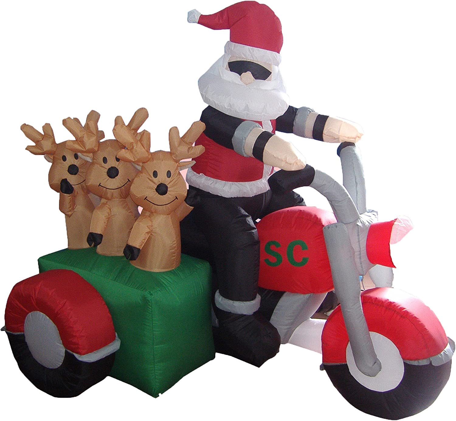 BZB Goods 5 Foot Tall Christmas Inflatable Santa Claus and Three Reindeer on Motorcycle Outdoor Indoor Decoration