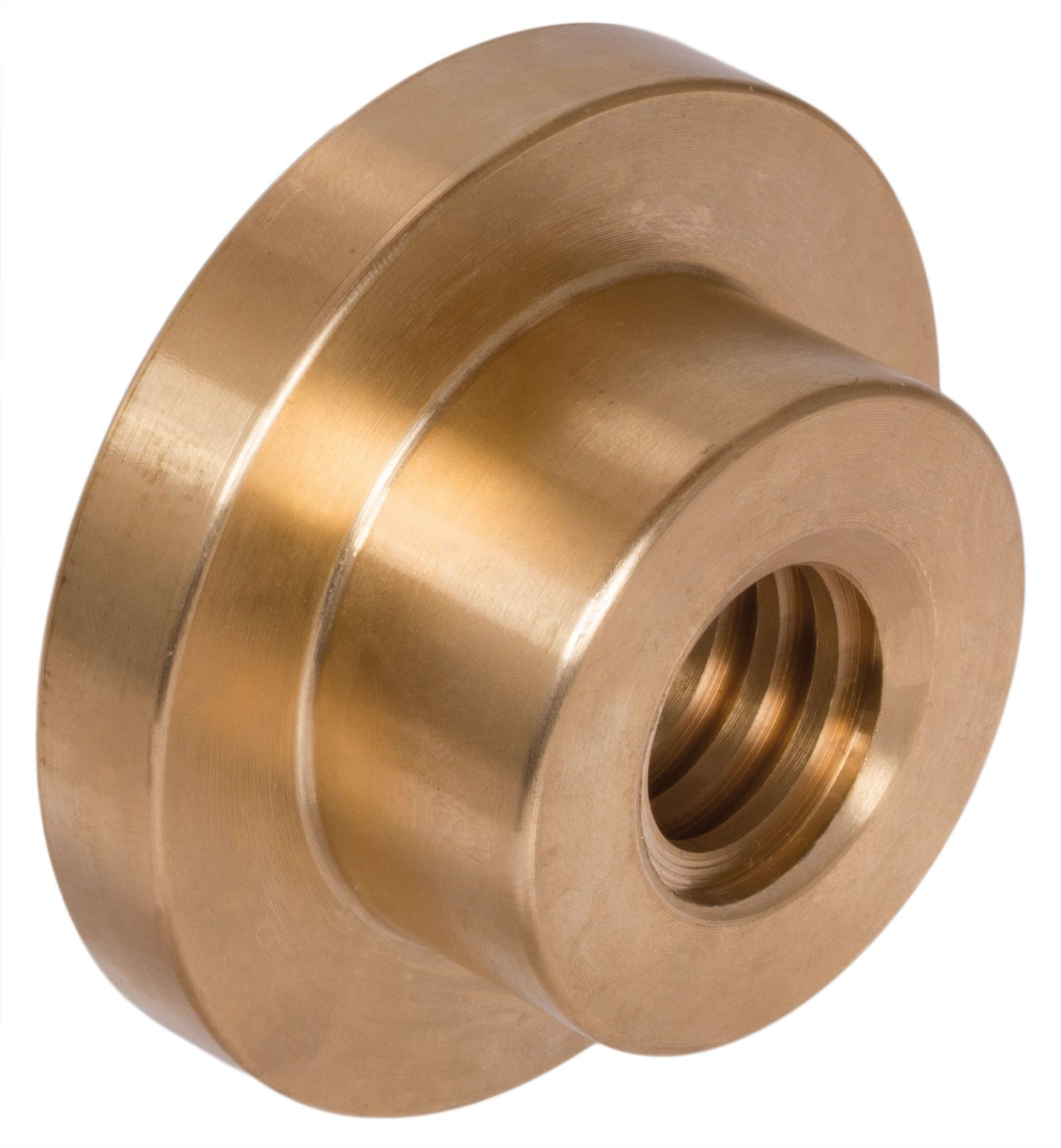 Trapezoidal leadscrew nut with flange Tr.52 x 8 single start left, material red bronze by Maedler