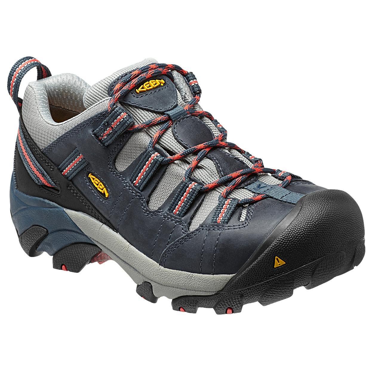 KEEN Utility Women's Detroit Low Work Boot, Midnight Navy/Hot Coral, 5.5 W US