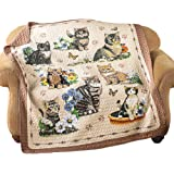 """Quilted Throw Blanket, Charming Cat / Kitten and Floral Collage, 6""""L x 5""""W"""