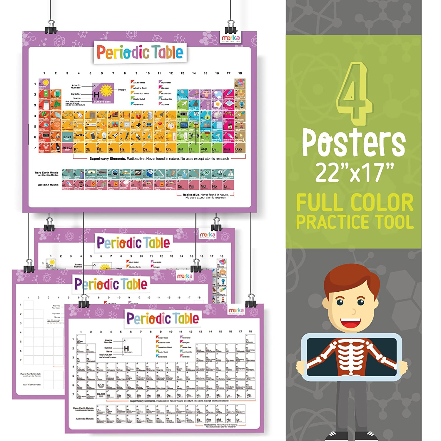 Amazon kids periodic table learning kit includes 4 posters amazon kids periodic table learning kit includes 4 posters 22x17 118 flash cards with beautiful images representing each element educational urtaz Choice Image