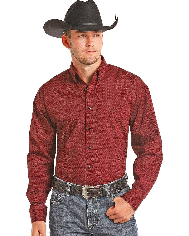 Panhandle Men's Burgundy Peached Poplin Shirt Burgundy XX-Large