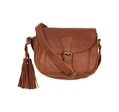 6ef7309254 Fat Face Womens Chocolate Brown Small Tassel Leather Cross Body Bag   918416   Amazon.co.uk  Shoes   Bags
