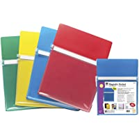"""Charles Leonard Magnetic Pockets, 9-1/2W x 11-3/4H Inches, 1"""" x 10"""" x 12"""", Assorted Colors, 4 per Pack"""
