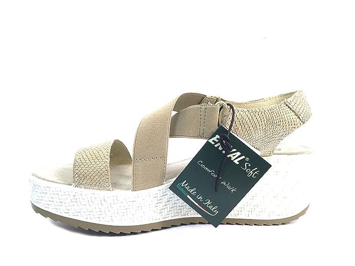7998 ARGENTO Scarpa donna sandalo zeppa Enval soft pelle made in Italy UNH1aV