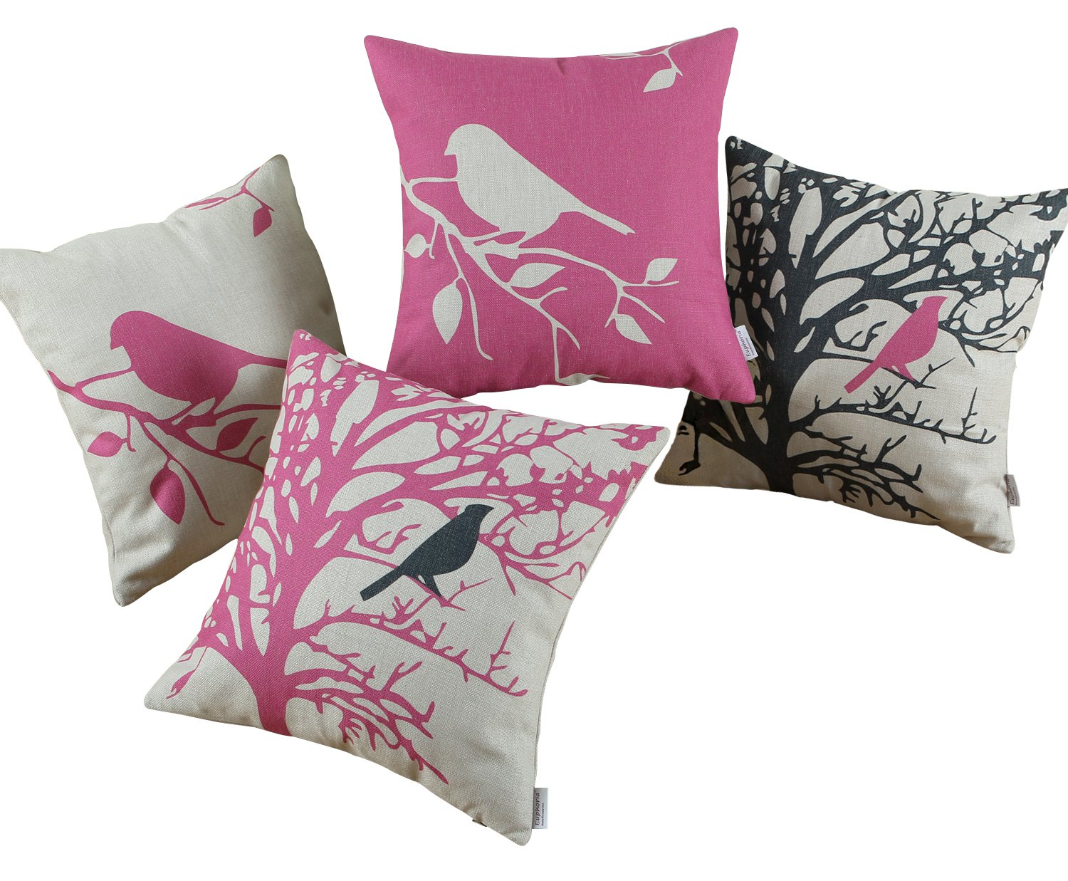Euphoria CaliTime Throw Pillows Covers Vintage Birds Branches, 18 X 18 Inches, Black Pink, Set of 4