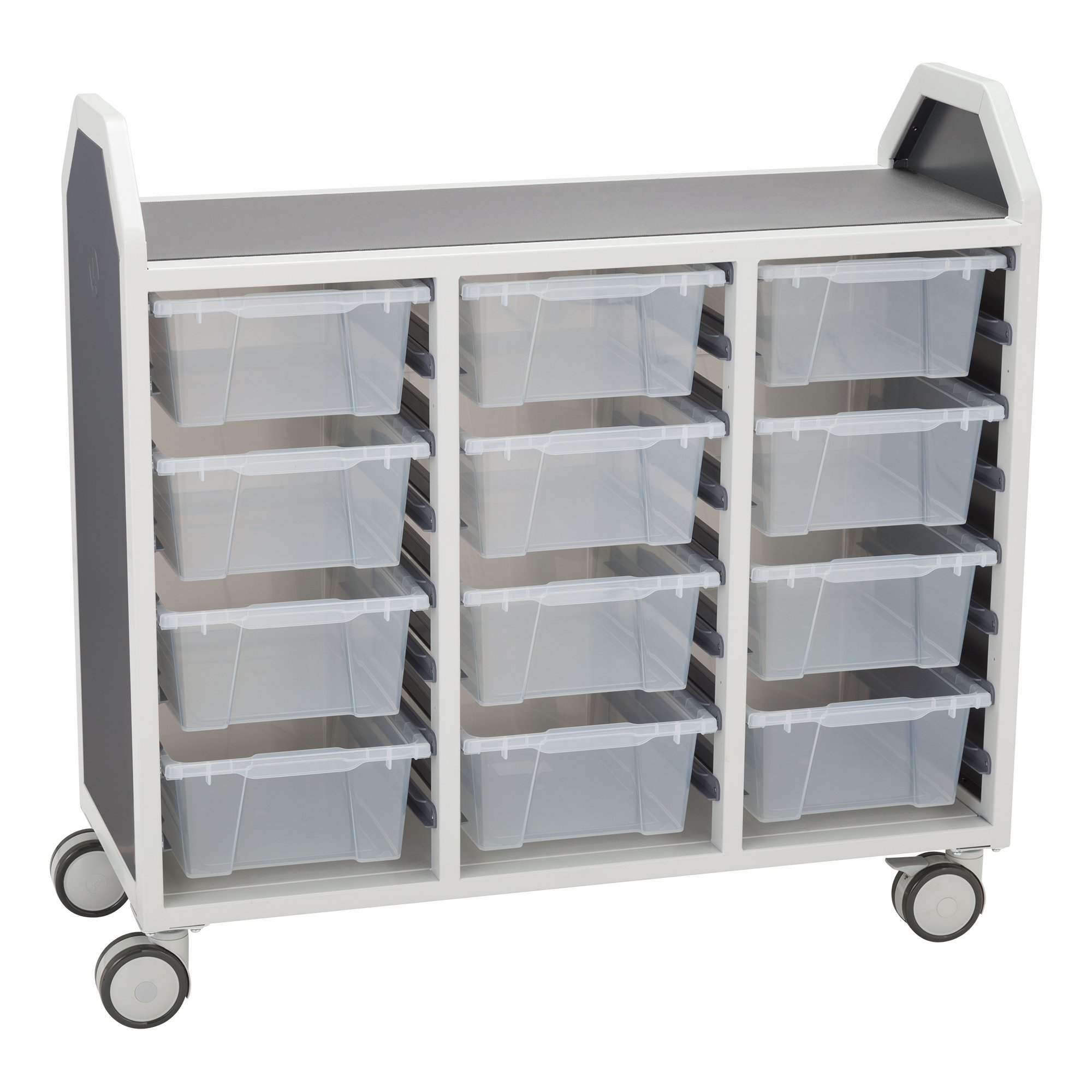 Learniture Profile Series Triple-Wide Mobile Classroom Storage Cart with 12 Large Bins, LNT-GNO3042-PKAL-SO