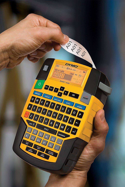 DYMO RHINO 4200 - Impresora de etiquetas (Negro, Amarillo, QWERTY, 1,9 cm, Ión de litio, 130 mm, 175 mm): Amazon.es: Oficina y papelería