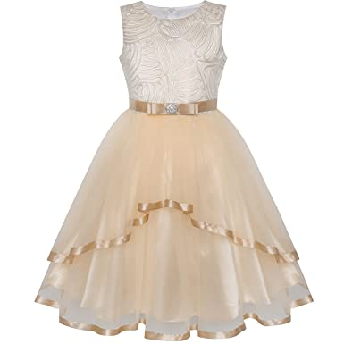 Sunny Fashion Flower Girl Dress Ivory Wedding Party Bridesmaid Dress Age 4 Years