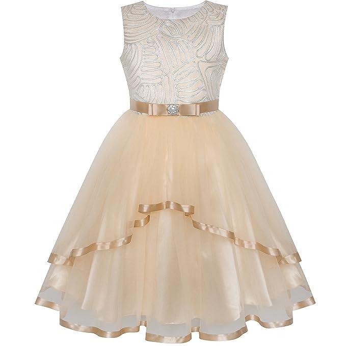Sunny Fashion Flower Girls Dress Blue Belted Wedding Party Bridesmaid Age  4-12 Years  Amazon.co.uk  Clothing 9e8f031543bd