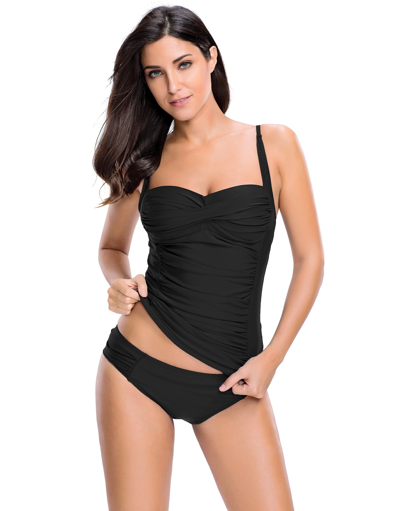 ACKKIA Women's Retro Slimming Ruched Solid Black Strappy Padded Surf Two Piece Tankini Set Swimwear Sports Swimming Suit Separates DD Bathing Suit Tops Mom Swimsuits for Women Black Size L