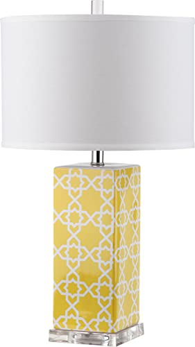 Safavieh Lighting Collection Quatrefoil Yellow 27-inch Table Lamp