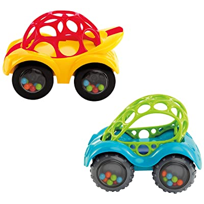 Oball Rattle and Roll Cars: Set of 2, Red and Blue: Toys & Games