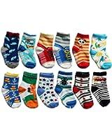 OKPOW 12 Pairs Baby Infants Toddler Socks Bright Random Colored Socks Anti-skid Cotton Socks Gift