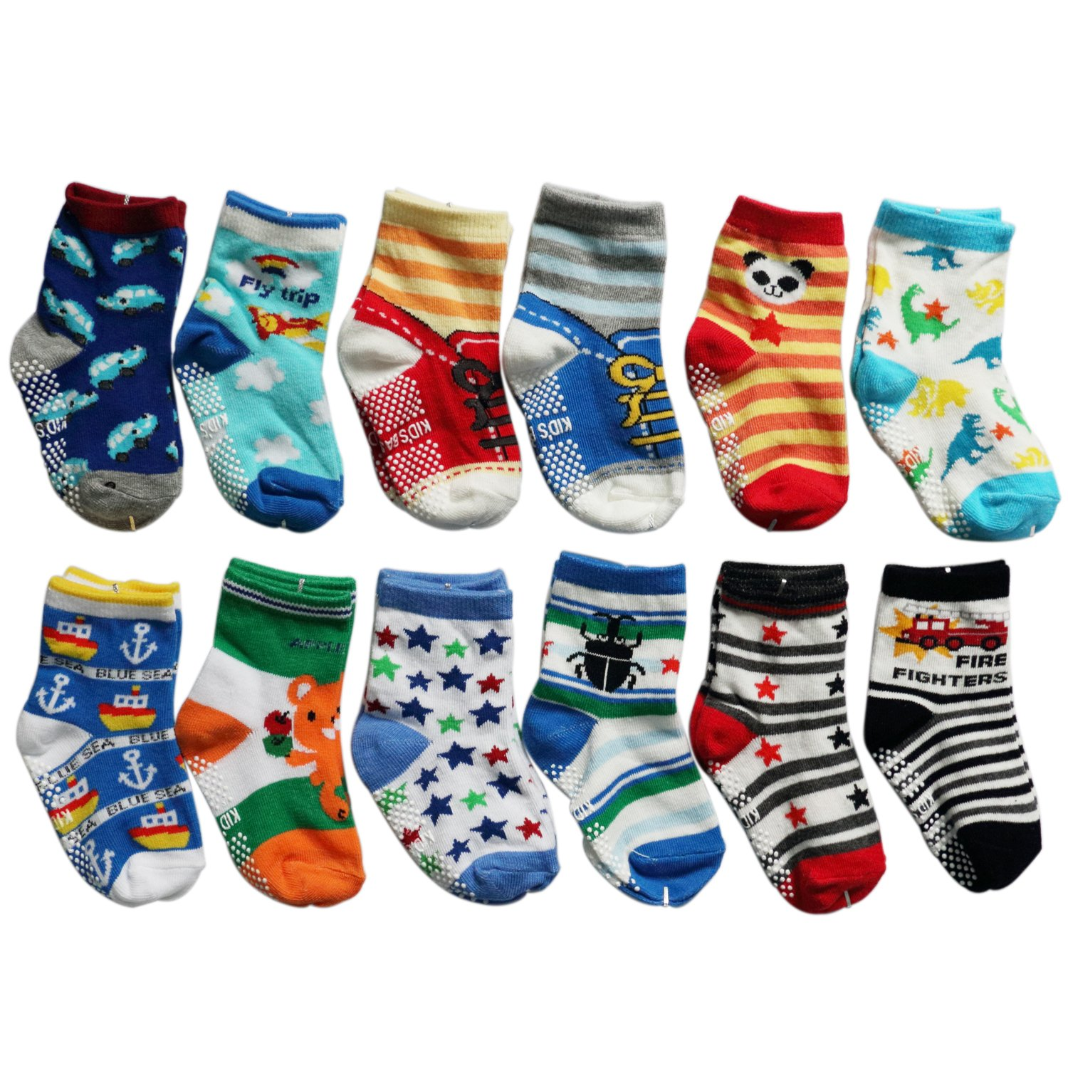 OKPOW 12 Pairs Baby Infants Toddler Socks Bright Random Colored Socks Anti-skid Cotton Socks Gift S-54