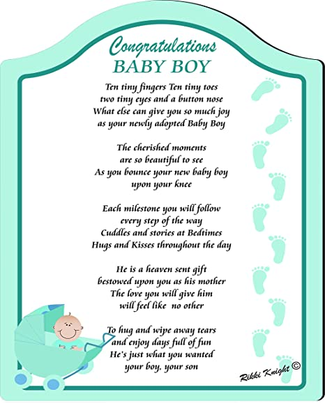 Congratulations On Your Baby Boy Touching 8x10 Poem With Full Color