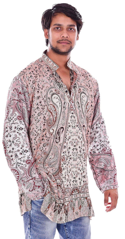 Lakkar Haveli Indian Pashmina Silk Black Color Paisley Print Men/'s Kurta Shirt Hand Loom Plus Size Loose Fit Hensley