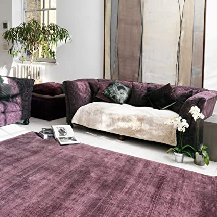 Merveilleux The Rug House Blade Solid Colour 100% Viscose Hand Woven Heather Purple  Living Room Rugs